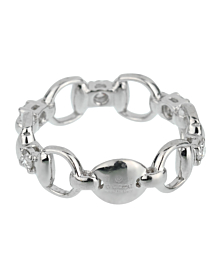 Gucci Horsebit Diamond White Gold Ring