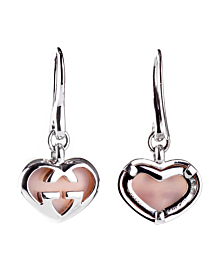 Gucci Pink Opal Double G Silver Heart Earrings - Gucci Jewelry