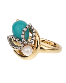 Gucci Diamond Horsebit Turquoise Pearl Yellow Gold Ring
