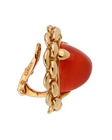 Hermes Vintage Sugarloaf Carnelian 18k Yellow Gold Clip On Earrings - Hermes Jewelry