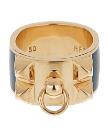 Hermes Collier De Chien Gold Blue Enamel Ring - Hermes Jewelry