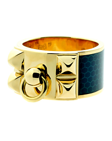 Hermes Collier De Chien Gold Enamel Ring