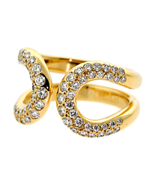 Hermes Diamond Gold H Ring - Hermes Jewelry