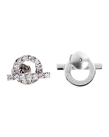 Hermes Diamond Stud 18k White Gold Earrings - Hermes Jewelry