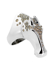 Hermes Galop Horse Limited Edition Diamond Silver Ring - Hermes Jewelry