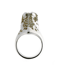 Hermes Galop Horse Diamond Silver Ring - Hermes Jewelry