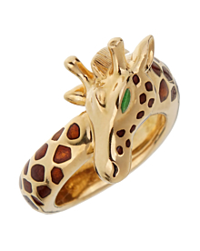 Hermes Paris Giraffe Enamel Yellow Gold Ring