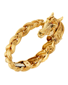 Hermes Horse Head Gold Bangle Bracelet - Hermes Jewelry