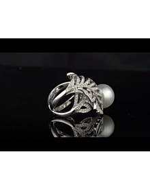Chanel Pearl Diamond White Gold Ring - Chanel Jewelry