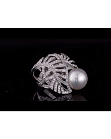 Chanel Pearl Diamond White Gold Ring For Sale Opulent Jewelers
