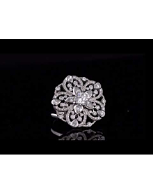 Chanel Diamond Flower Cocktail White Gold Ring For Sale Opulent Jewelers