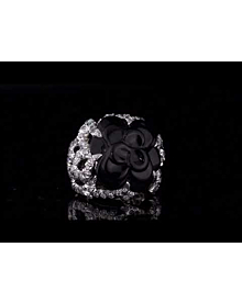 Chanel Camelia Diamond Onyx White Gold Ring For Sale Opulent Jewelers
