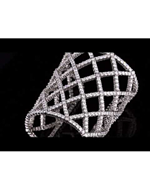 Boucheron Weave Diamond White Gold Cuff Bangle For Sale Opulent Jewelers