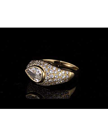 Bulgari Pear Shaped Diamond Yellow Gold Cocktail Ring For Sale Opulent Jewelers