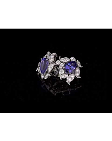 Van Cleef and Arpels Les Jardins 18k White Gold Tanzanite & Diamond Suite For Sale Opulent Jewelers
