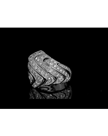 Cartier High Jewelry Pave Diamond Cocktail White Gold Ring For Sale Opulent Jewelers