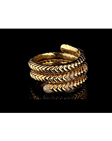 Bulgari Spiga Triple Row Diamond Yellow Gold Cuff For Sale Opulent Jewelers