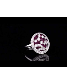 Graff Ruby Diamond White Gold Cocktail Ring For Sale Opulent Jewelers
