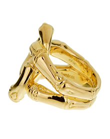 John Hardy Double Bamboo Yellow Gold Ladies Ring - John Hardy Jewelry