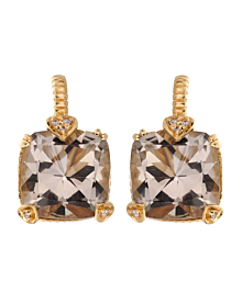 Judith Ripka Diamond & Quartz Yellow Gold Earrings