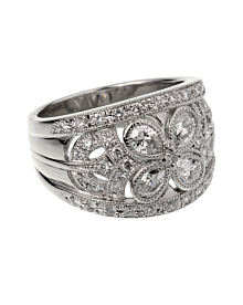 Vintage Platinum Diamond Cocktail Ring - Estate Jewelry