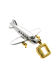Louis Vuitton Airplane Diamond Charm Pendant in 18k White Gold