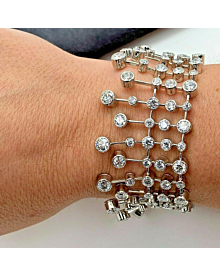 Magnificent Cartier Diamond Platinum Tennis Bracelet - Cartier Jewelry