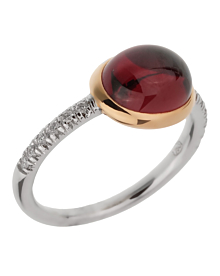 Mimi Milano Garnet Diamond White Gold Ring Sz 7.5