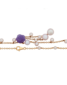Mimi Milano Lavender Jade Pearl Rose Gold Necklace - Mimi Milano Jewelry
