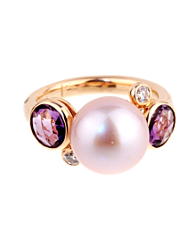 Mimi Milano Amethyst Pearl Diamond Rose Gold RIng - Mimi Milano Jewelry