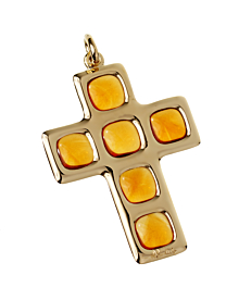 Pomellato Citrine 27ct Citrine Cross Yellow Gold Pendant