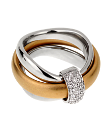 Pomellato Cocktail Rolling Diamond Gold Ring - Pomellato Jewelry