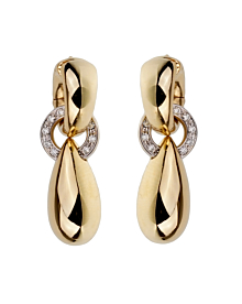 Pomellato Vintage Diamond Yellow Gold Drop Earrings - Pomellato Jewelry