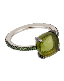 Pomellato 3.5 Carat Peridot Tsavorite Garnet White Gold Cocktail Ring