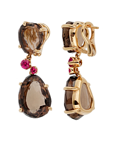 Pomellato 12 Carat Smoky Quartz Ruby Drop Rose Gold Earrings - Pomellato Jewelry