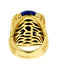 Rodney Rayner One of a Kind Lapis Lazuli Diamond Gold Ring - Estate Jewelry