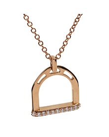 Estate Stirrup Rose Gold Diamond Necklace