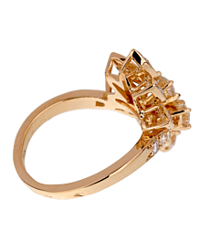 Van Cleef & Arpels Vintage Diamond Cocktail Yellow Gold Ring - Van Cleef and Arpels Jewelry