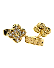 Van Cleef & Arpels Alhambra Diamond Cufflinks - Van Cleef and Arpels Jewelry