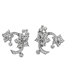 Van Cleef & Arpels Diamond Floral White Gold Earrings