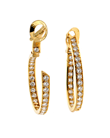 Van Cleef Arpels Diamond Hoop 18k Yellow Gold Earrings - Van Cleef and Arpels Jewelry