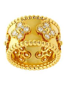 Van Cleef Arpels Perlee Diamond Gold Ring - Van Cleef and Arpels Jewelry