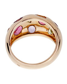Van Cleef & Arpels Vintage Bombe Gemstone Gold Ring - Van Cleef and Arpels Jewelry