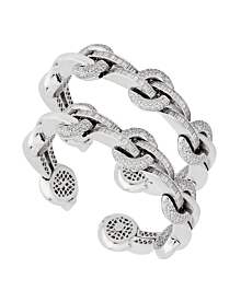 Ladies White Gold Diamond Cuff Bangle Set - Estate Jewelry