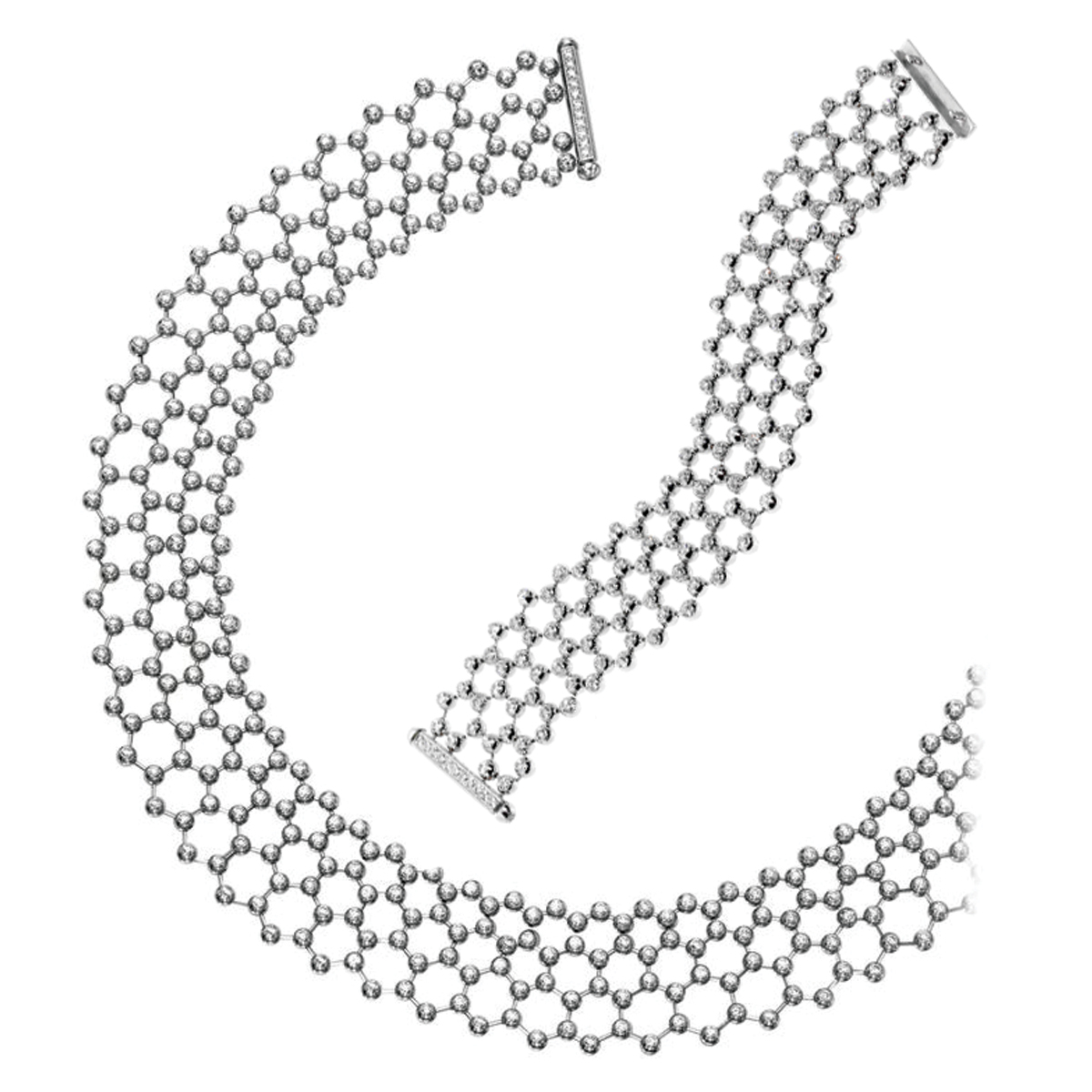 Cartier Diamond Tennis Necklace & Bracelet Suite