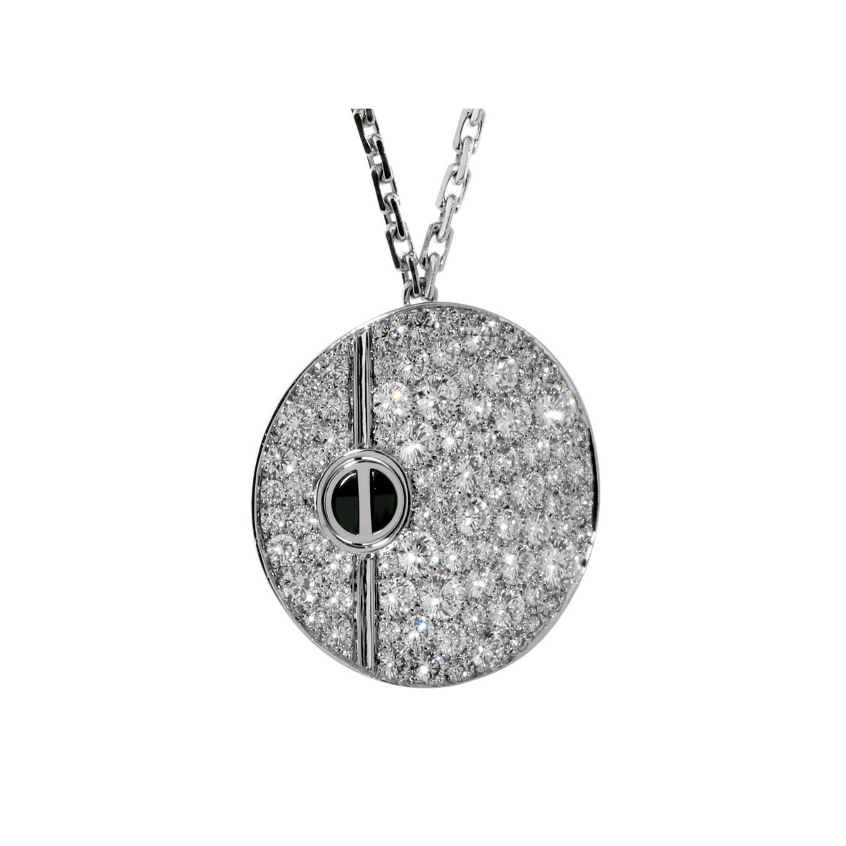 Cartier Love Pave Diamond White Gold Necklace