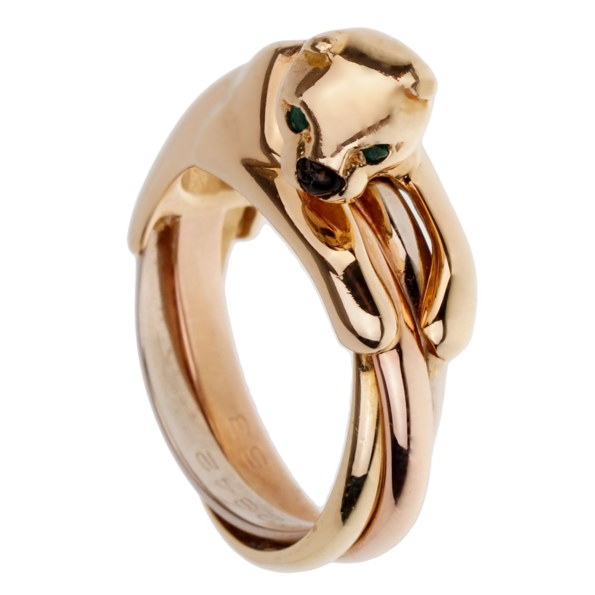 Cartier Panthere Trinity Yellow Gold Ring For Sale