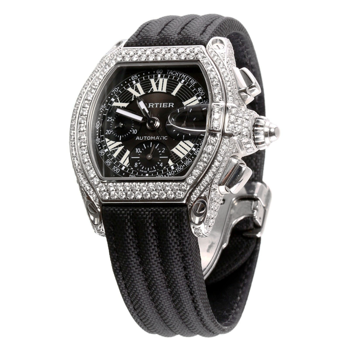Mens Cartier Roadster Chronograph Stainless Steel Diamond Watch