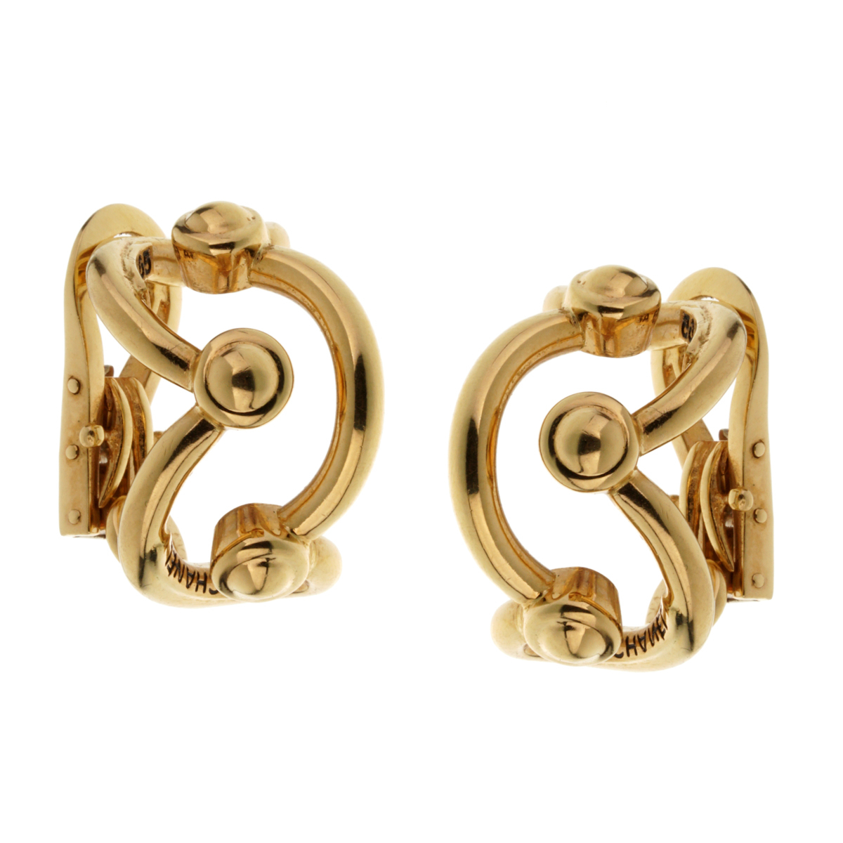 Chanel Vintage Yellow Gold Hoop Earrings