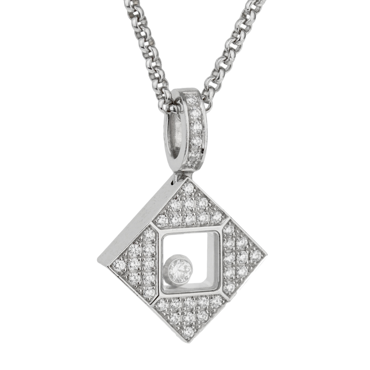Chopard Happy Diamonds Square White Gold Necklace